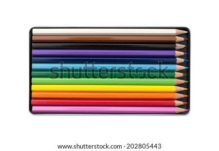 Color pencils in the box with white background - stock photo