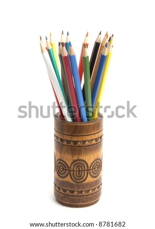 Color pencils isolated on white - stock photo
