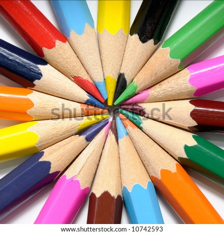 Color pencils on a white background - stock photo