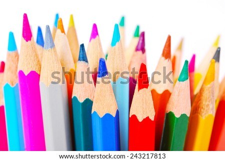 color pencils on white background. - stock photo