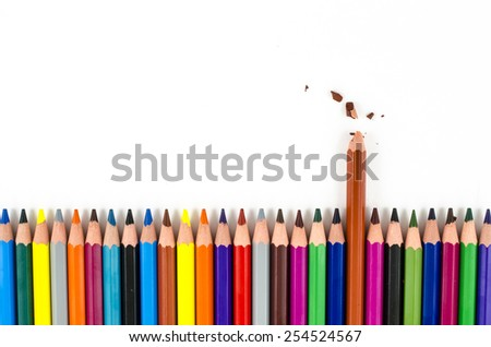 Color pencils with one broken isolated on white - stock photo