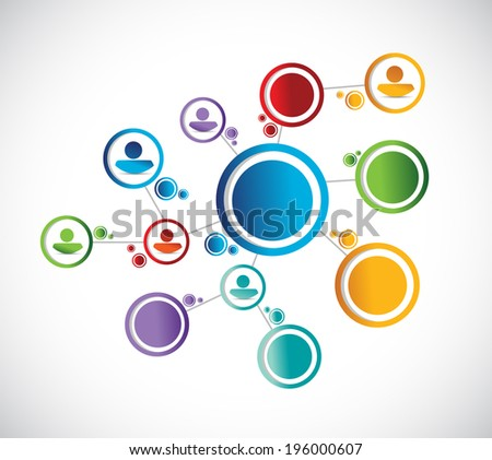 color people diagram network connection illustration design over a white background - stock photo