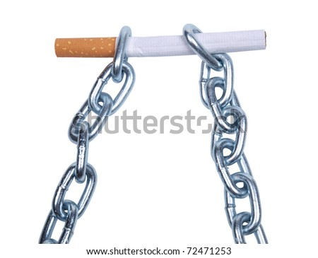 Color photo of a cigarette and a metal chain - stock photo