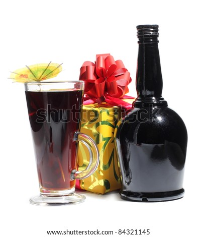 Color photo of a glass with cocktail - stock photo