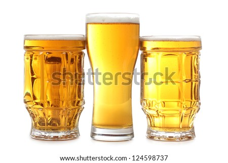 Color photo of a large beer mugs - stock photo