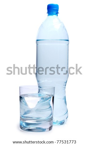 Color photo of bottle and a glass of water - stock photo
