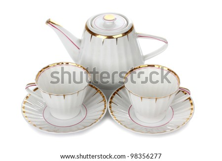 Color photo of china cups of tea - stock photo