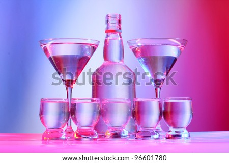 Color photo of glass with tequila shots - stock photo