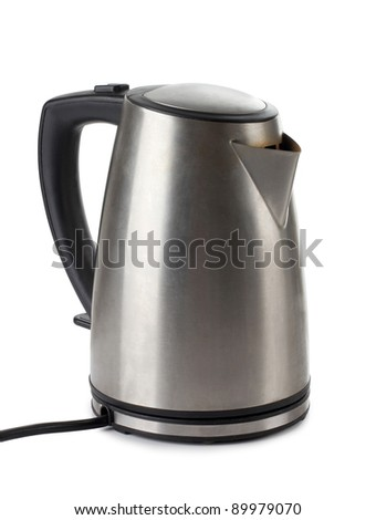 Color photo of metal kettle - stock photo