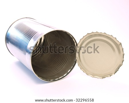 Color photo of the empty cans. An isolated object on a white background. - stock photo
