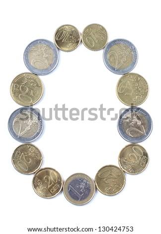 Color photograph of alphabet of euro coins - stock photo