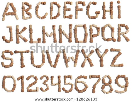 Color photograph of alphabet of wine corks - stock photo