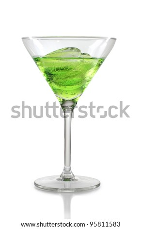 Color photograph of glasses of wine and ice - stock photo