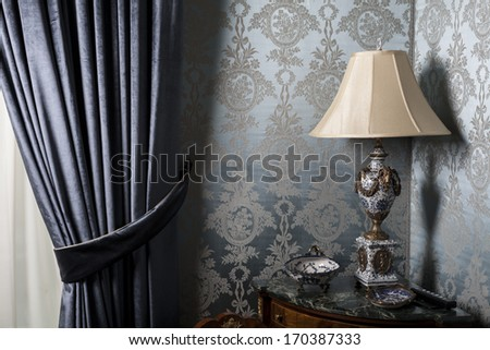 Color picture of an old table lamp - stock photo