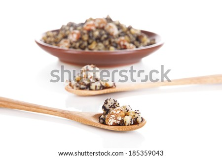 Color plate with kutia -  traditional Christmas sweet meal in Ukraine, Belarus and Poland, isolated on white - stock photo