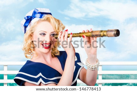 Color portrait of sexy young girl with beautiful curly blond hair and stylish pinup make-up looking through sailor telescope - stock photo