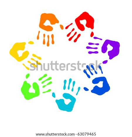 Color prints of small children's hands on whine - stock photo