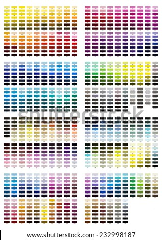 Color reference illustration for all shades from 100 to 7547 - stock photo