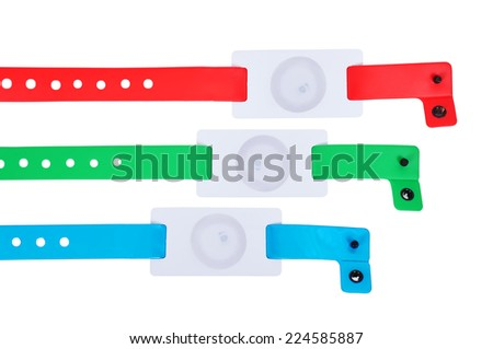 color rfid id bracelets, close up - stock photo