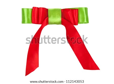 color ribbon bow tie isolated on white background - stock photo