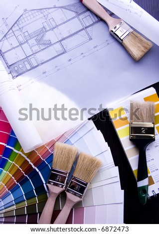 Color samples & Architecture plan - stock photo