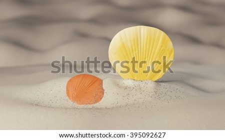color seashell on sand render - stock photo