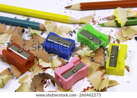 Color Sharpeners and Pencils. - stock photo