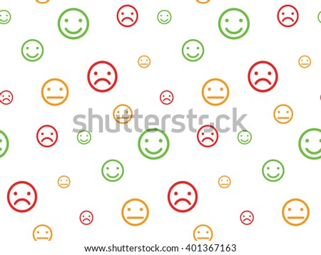 Color smiley faces seamless pattern illustration - stock photo