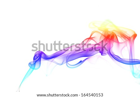 color smoke isolated on a white background - stock photo