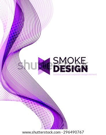 Color smoke wave isolated on white. Abstract background or design element for your message presentation, business card - stock photo