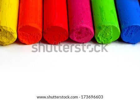Color spectrum pastel sticks - education, arts,creative, back to school - colored pencils - School supplies - stock photo
