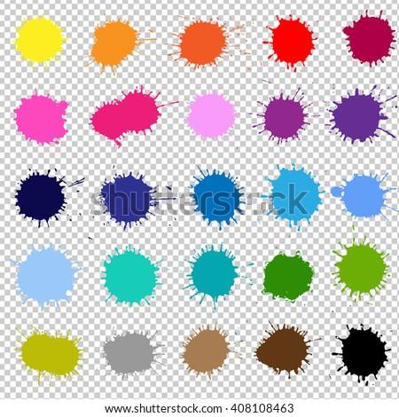 Color Splash, Isolated on Transparent Background - stock photo