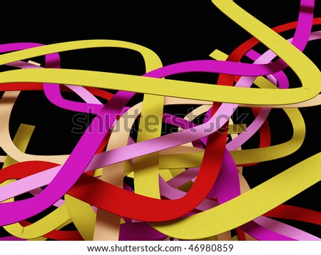 Color stripes on black - stock photo