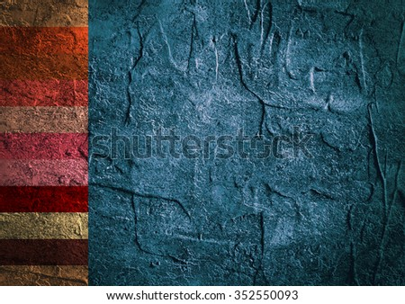 Color stripes painted texture of old concrete wall for background - stock photo