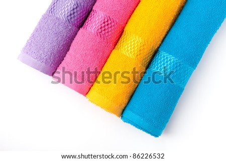 color terry towels isolated on white - stock photo
