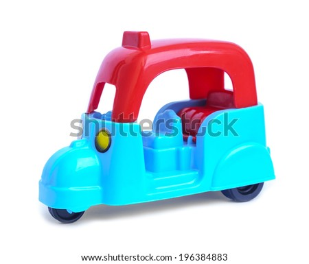Color toy car isolated on white - stock photo