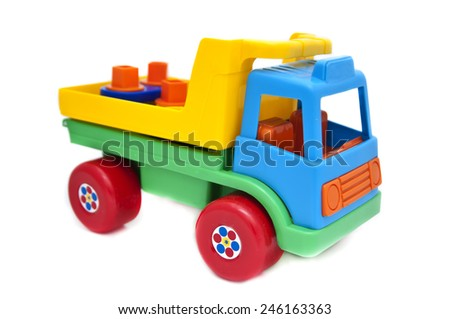 Color toy car. Isolated on white background - stock photo