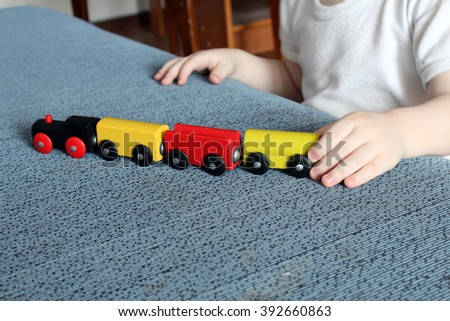 color train and hands - stock photo