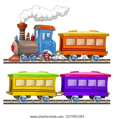 Color trains, wagons and rails - stock photo