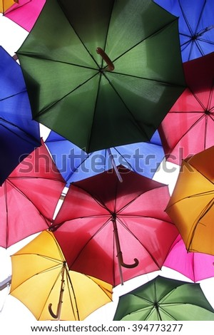 color umbrellas in London  - stock photo