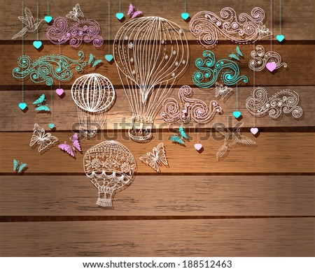 Color Valentine illustration, hot Air Balloon in sky, hand drawn Background for Design with hearts and birds over wood background - stock photo