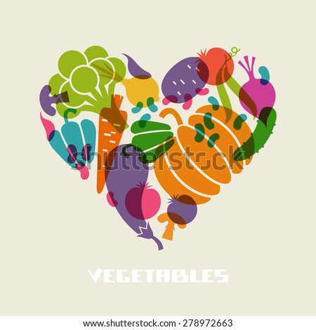 Color vegetables icon. Food sign in heart shape. Healthy lifestyle illustration for print, web. Original design element - stock photo
