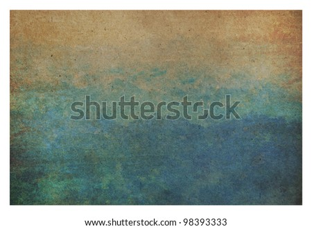 color water on old paper - stock photo