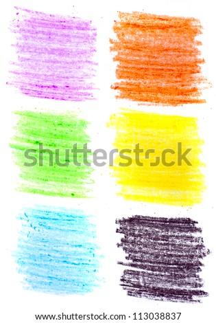Color wax pencils background set - stock photo