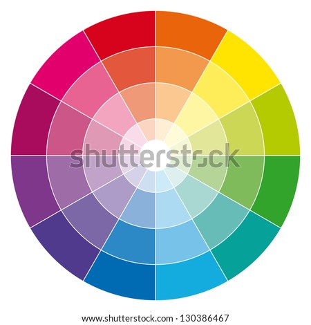 Color wheel. Illustration guide. - stock photo