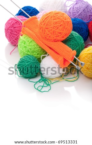Color woolen clews for knitting on a white background - stock photo