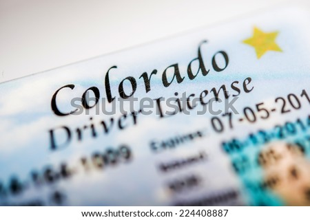Colorado Driver License Closeup Photo. Colorado Transportation Law - stock photo