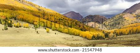 Colorado Fall colors near Victor - stock photo