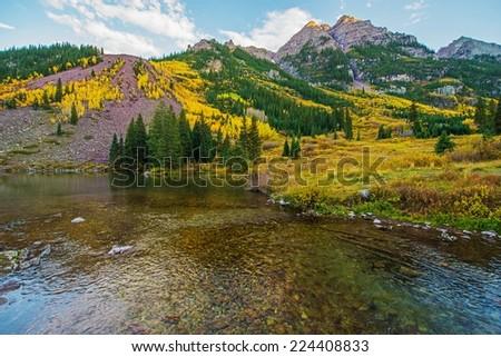 Colorado Fall Scenery. Maroon Bells Lake. Aspen, Colorado, United States. Scenic Colorado. - stock photo