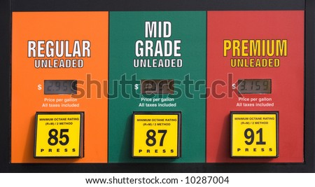 Colorado gas prices at a pump: regular, mid grade and premium unleaded - stock photo